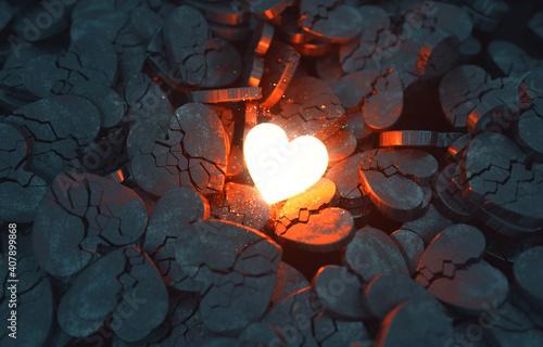 Glowing Heart with Broken Hearts