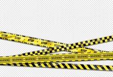 Warning Ribbon. Realistic Adhesive Barricade Tape. Black And Yellow Barrier, Stop Sign. Crossed Caution Lines With Repeated Ornament And Stripes. Decorative Poster And Copy Space. Vector Police Cordon