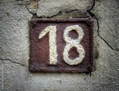 Obraz Number 18, the number of houses, apartments, street. - fototapety do salonu
