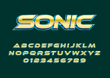 Sonic Text Effect, Modern Bold Shiny Gold Text Effect With 3d Style. Set Of Alphabet And Number For Poster Headline, Advertisement, Logo Branding