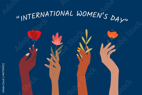 International women's day. Set of woman hands holding beautiful flowers. Girl power. Modern colorful vector illustration for banner, web, print, advertising