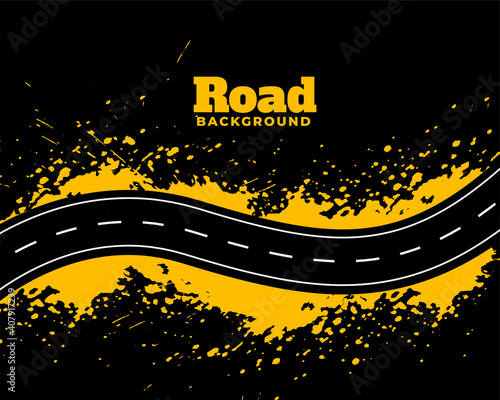 Canvastavla abstract road pathway with yellow splatter