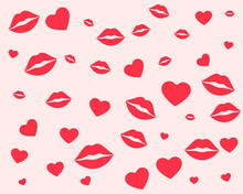 Lips And Hearts Pattern For Valentines Day