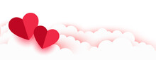 Valentines Day Romantic Paper Hearts And Clouds Banner