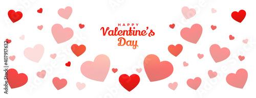 happy valentines day hearts pattern banner design
