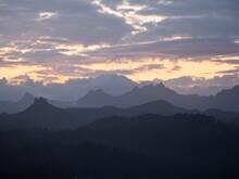 Panorama Landscape View Of Coromandel Peninsula Mountain Range Layers From Mount Paku Summit Tairua Waikato New Zealand