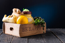 Vitamins In A Wooden Box. Lemon, Ginger And Honey In A Box.