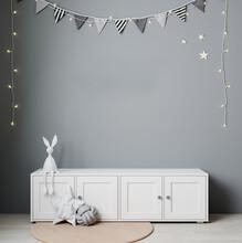 Wall Mockup In Child Room Interior. Nursery Interior In Scandinavian Style. 3d Rendering