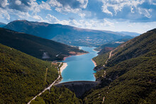 Italy - Aerial View Of Lake Fiastra With Its Dam In The Province Of Macerata In The Marche Region