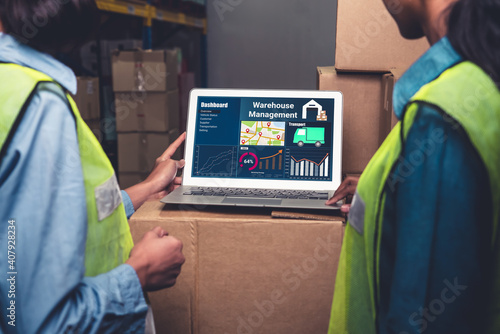 Cuadros en Lienzo Warehouse management software application in computer for real time monitoring of goods package delivery
