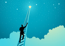 Businessman Climbing A Ladder To Reach Out For The Stars
