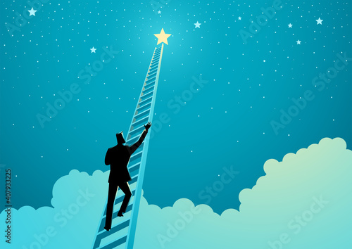 Businessman climbing a ladder to reach out for the stars - fototapety na wymiar
