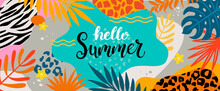 Hello Summer 2020 Greeting Banner, Lettering Among Tropical Palm Leaves And Animal Print. Summertime Background,Template For Your Design. Vector Illustration.