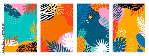 Set summer cards, banners, flyers with tropical palm leaves and animal print. Abstract Summertime backgrounds,Template for your design, sales, social media,web. Vector illustration.