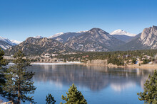 View Of Estes Park, Colorado Across Lake Estes