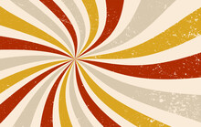 Retro Groovy Sunburst Vector Background, Spiral Swirls Of Red, Fortuna Gold, Beige, Gray, And White Colors With Old Vintage Grunge Texture