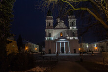 Sanctuary, Basilica Of The Nativity Of The Blessed Virgin Mary In Chełm In Eastern Poland Near Lublin, At Dusk In Winter