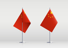China Flag State Symbol Isolated On Background National Banner. Greeting Card National Independence Day Of The Peoples Republic Of China. Illustration Banner With Realistic State Flag Of PRC.