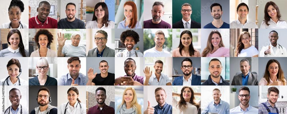 Fototapeta Multicultural Faces Photo Collage. Portrait