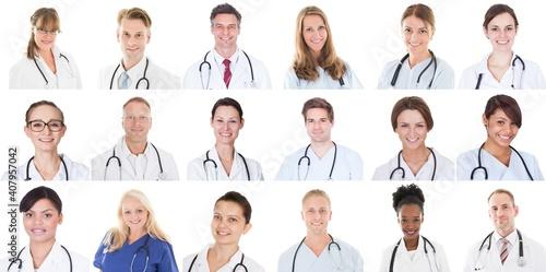 Obraz Happy Diverse Doctor People Group Set - fototapety do salonu