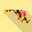 Maryland flag vector map flat simple style long shadow background. Vector Illustration Maryland flag map