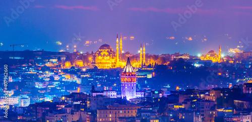 Billede på lærred ISTANBUL, TURKEY. Panoramic Istanbul sunset view.