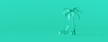Beach Chair And Guitar Under A Palm Tree On Green Background. Creative Minimal Summer Concept Idea 3D Render 3D Illustration