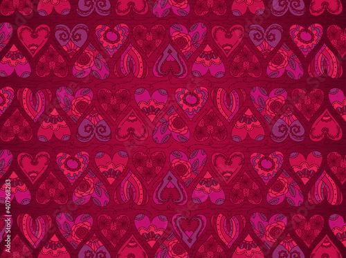 Obraz na płótnie Red background with valentines hearts