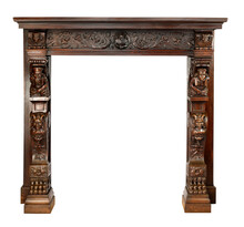 Mantle Fireplace Wood Carved With Clipping Path.