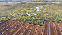 Aerial View To The Bog Landscape With Natural Elements And Peat Extraction Site