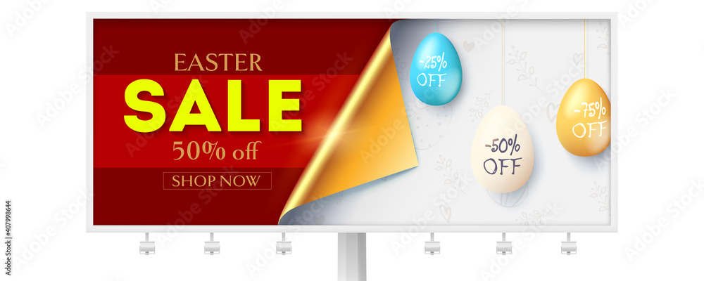 Fototapeta Festive Easter sale on billboard. Corner of paper covering hanging painted eggs with percent of discounts. Vector 3d illustration