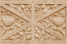 Old Pattern Of Flower Wooden Carved On Wood Background