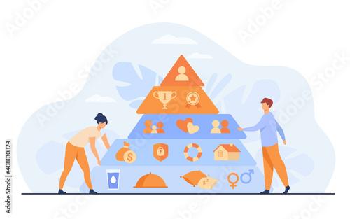 Fotografie, Obraz Tiny people near Maslow pyramid