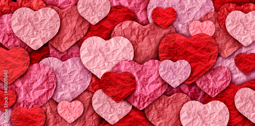 Fotografia Valentines abstract background and Valentine holiday with pink heart designs mad