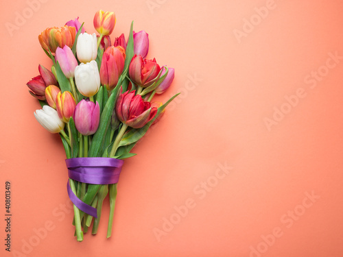 Colorful bouquet of tulips on white background. Wallpaper Mural