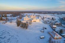 Ferapontov Belozersky Monastery In A Winter Landscape On A December Evening (aerial Photography). Vologda Region, Russia
