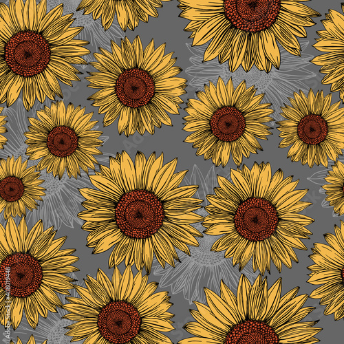 Photo Sunflowers hand-drawn on a grey background