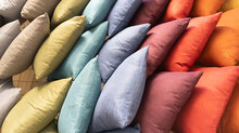 Pillows Background Stack Of Different Colorful Cushion