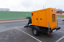 Mobile Diesel Generator On A Transport Trailer Powered By Diesel Fuel, Diesel Power Plants For Generating Electricity In Extreme Situations.
