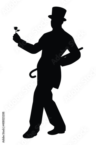 Photo Magician silhouette vector on white background, entertaining man concept