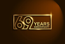 69 Years Anniversary Golden Design Vector Line Style In Square Isolated In Brown Background Can Be Use For Celebration Event, Greeting Card And Invitation Banner
