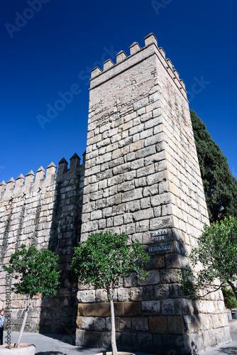 tower at exterior of alcazar in seville. alcazar in seville, tower of the sorrounding royal palace wall. spain © marinzolich