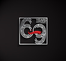 69 Years Anniversary Logotype With Square Silver Color And Red Ribbon Can Be Use For Special Moment And Celebration Event