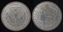 Closeup Of The Morgan Dollar Coin 1921