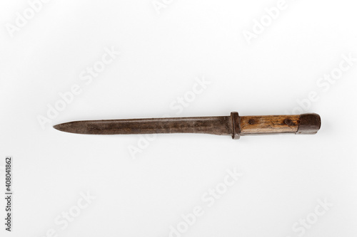 Fotografiet Old military bayonet weapon isolated on white background
