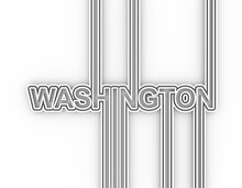 Image Relative To USA Travel. Washington State Name In Geometry Style Design. Creative Vintage Typography Poster Concept. 3D Rendering