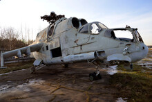 Wrecked Old Mi-24 Military Helicopter Is In Storage