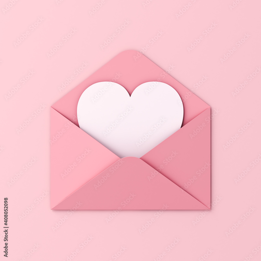 Fototapeta Sweet blank heart card in pink envelope isolated on pink pastel color wall background with shadow love letter minimal conceptual 3D rendering