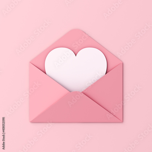 Fototapeta Sweet blank heart card in pink envelope isolated on pink pastel color wall background with shadow love letter minimal conceptual 3D rendering obraz