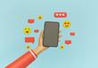 Leinwandbild Motiv modern Social media trendy design. Hand holding smartphone with emoji, heart, chat icons. 3d rendering